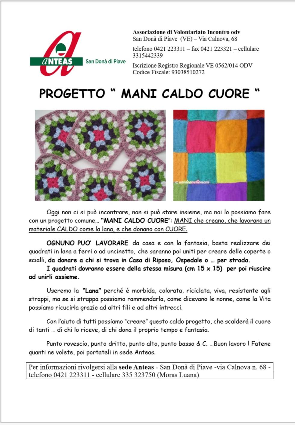 Una bella iniziativa solidale di Anteas San Donà di Piave (VE). Realizzazione