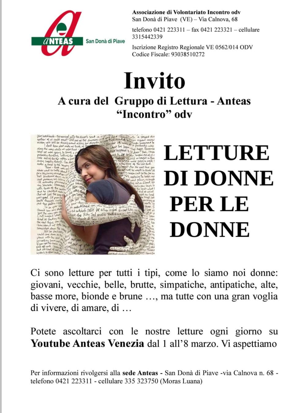 Iniziativa di Anteas San Donà di Piave in occasione di marzo, mese delle donne.