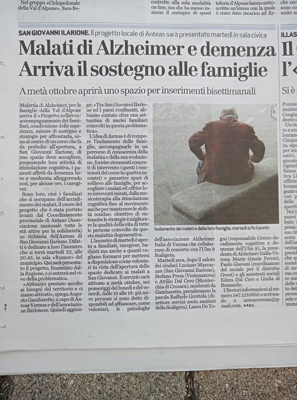 Anteas San Giovanni Ilarione (Verona) promuove un progetto sull'alzheimer