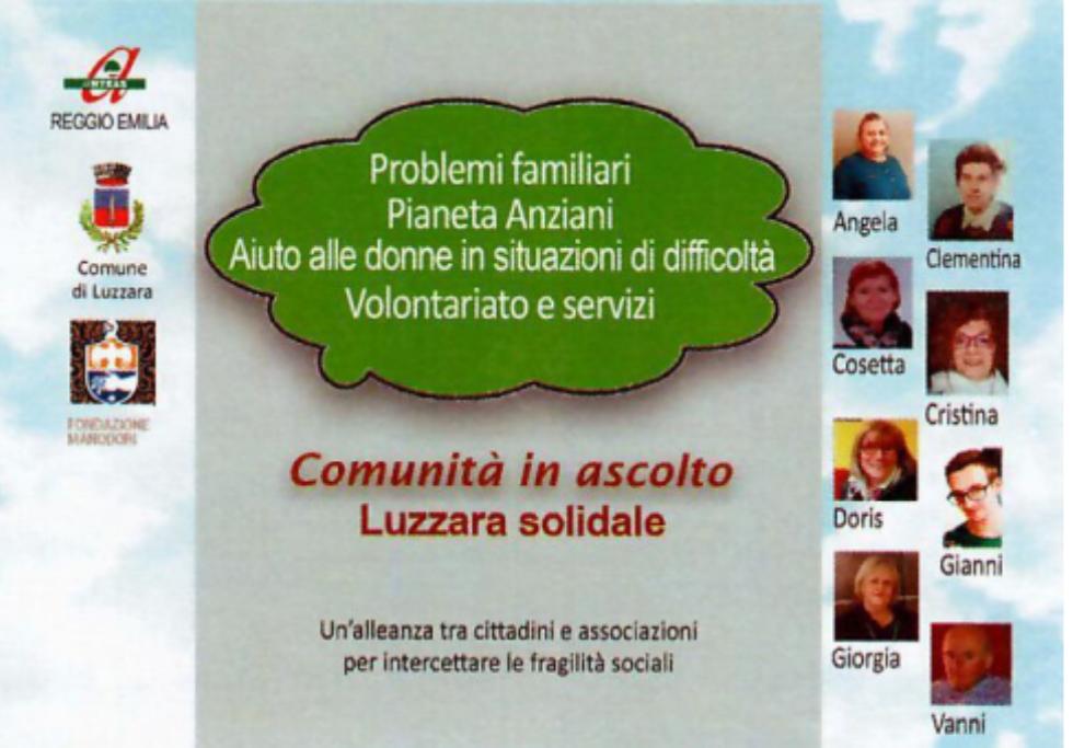 Anteas Reggio Emilia apre uno sportello a Luzzara per intercettare le fragilità sociali
