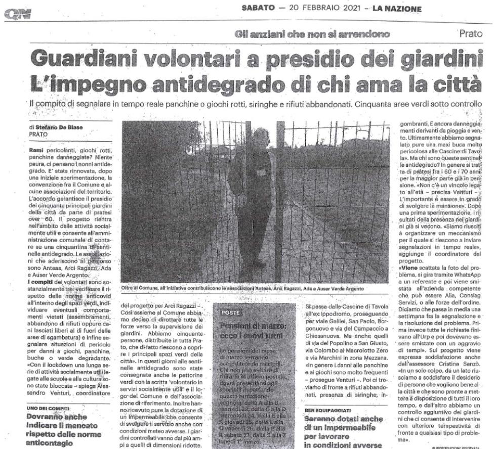 Volontari dell'Anteas a presidio del verde pubblico di Prato