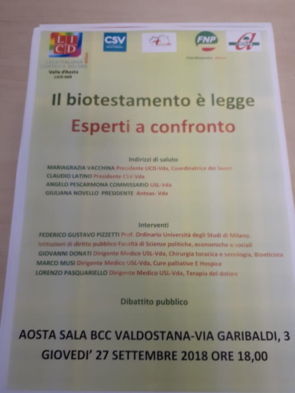 Incontro oggi ad Aosta per approfondire il testamento biologico