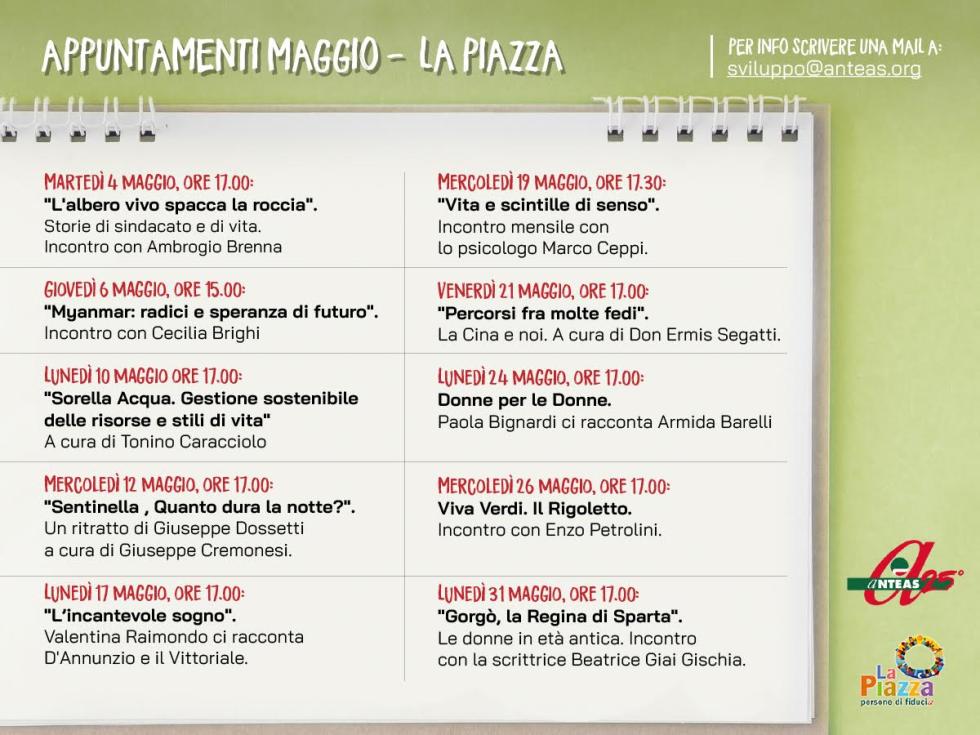 Il calendario con tutti gli appuntamenti in Piazza del mese di maggio