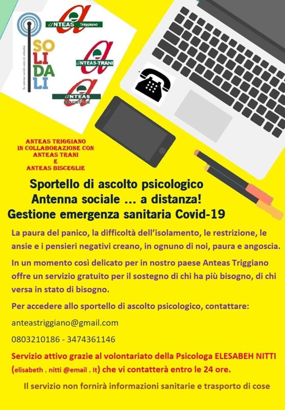 Sportello di ascolto psicologico organizzato da Anteas Triggiano (Bari)