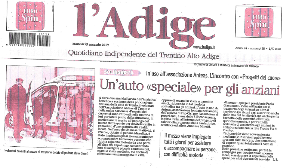 Trasporto sociale Anteas in Trentino. Un articolo del quotidiano