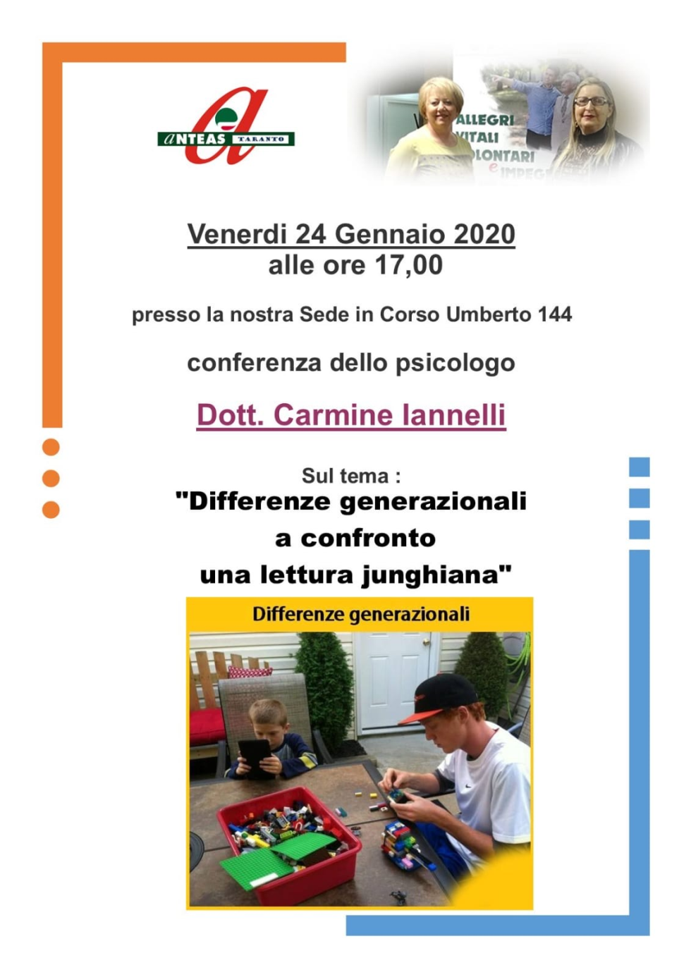 Conferenza con lo psicologo sulle differenze generazionali, con Anteas Taranto