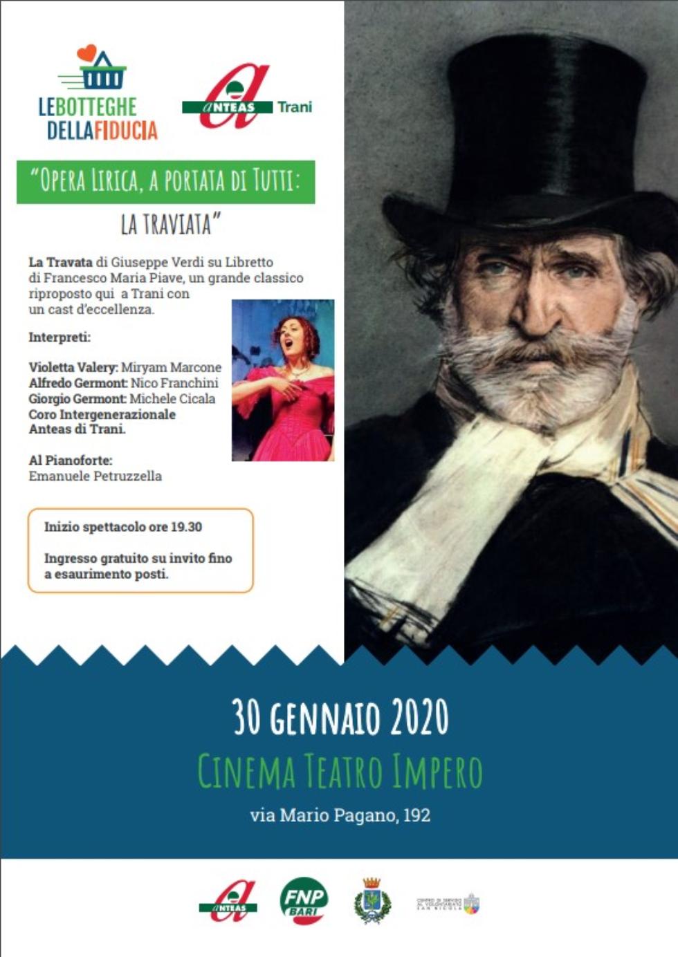 Nell'ambito di botteghe della fiducia, la Traviata di Giusppe Verdi, con Anteas Tranui