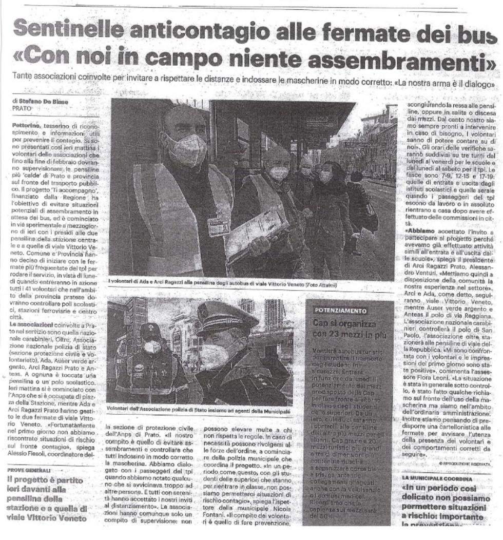 Anteas Prato sentinella anti-contagio alla fermata dell'autobus