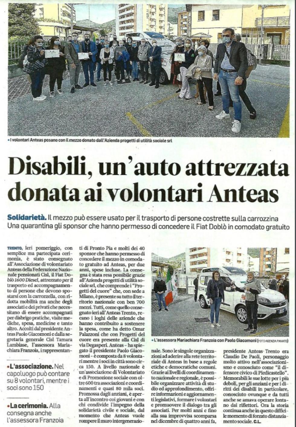 Un'auto attrezzata donata ad Anteas Trento